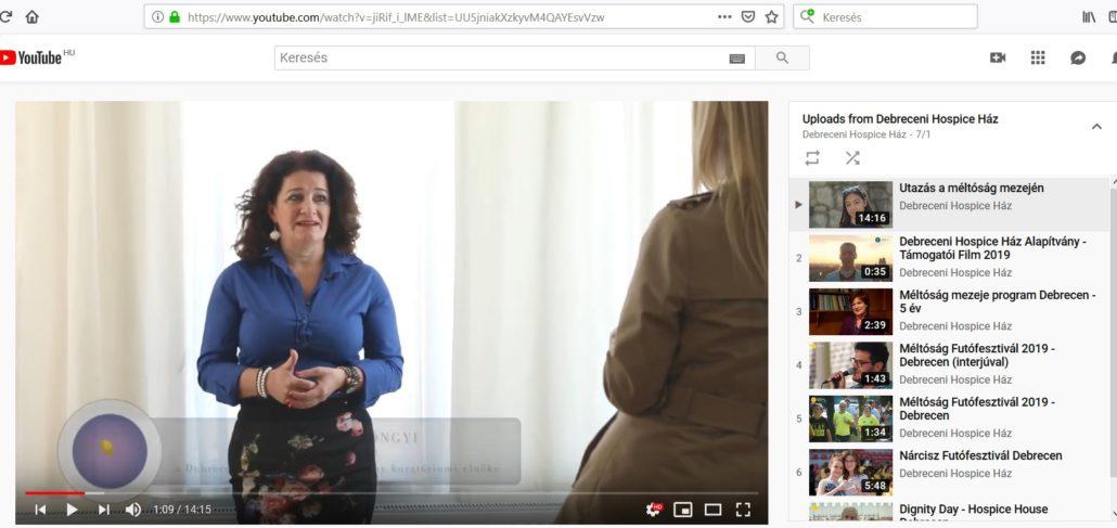Debreceni Hospice Ház Alapítvány youtube csatornája